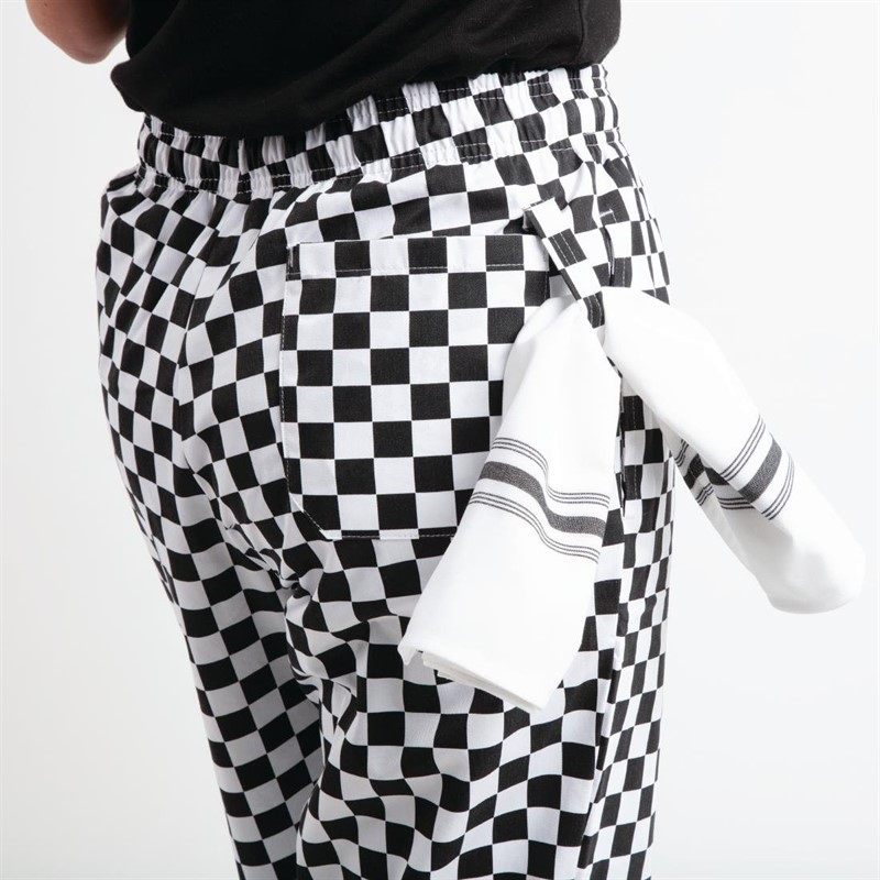 Whites Easyfit Teflon unisex koksbroek grote ruit zwart-wit XS