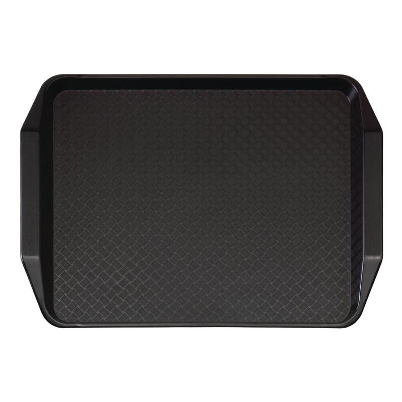 Cambro polypropyleen fastfood dienblad met handvatten zwart 43x30cm