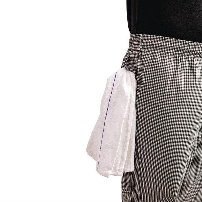 Whites Easyfit Teflon unisex koksbroek met kleine ruit zwart-wit XXL