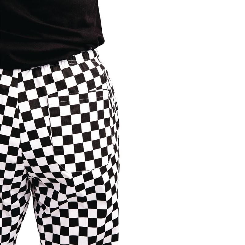 Whites Easyfit Teflon unisex koksbroek grote ruit zwart-wit XXL