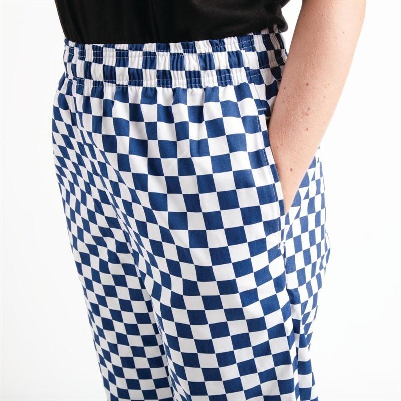 Whites Easyfit Teflon unisex koksbroek met grote ruit blauw-wit M