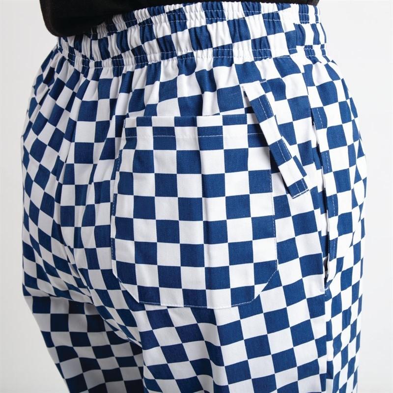 Whites Easyfit Teflon unisex koksbroek met grote ruit blauw-wit XS