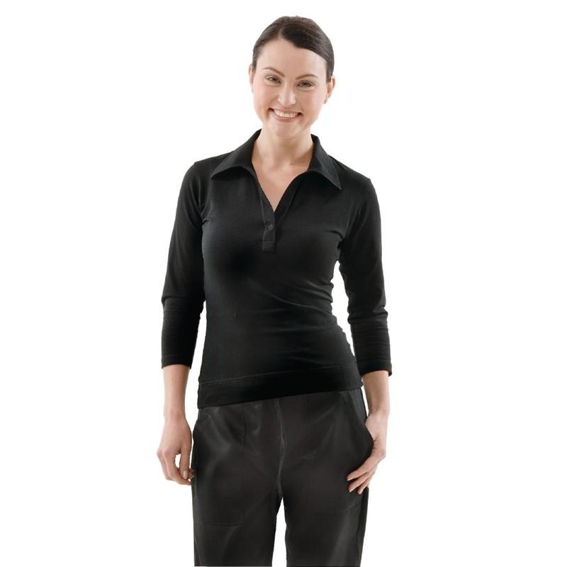 Uniform Works dames T-shirt met V-hals zwart M