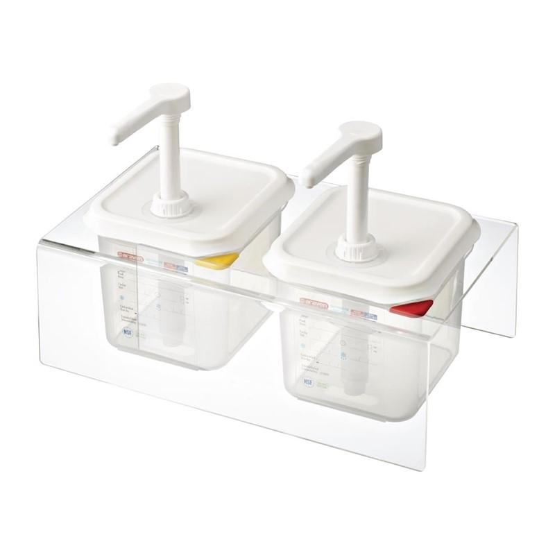 Araven set van 2 sausdispensers GN 1/6 transparant 2,6L