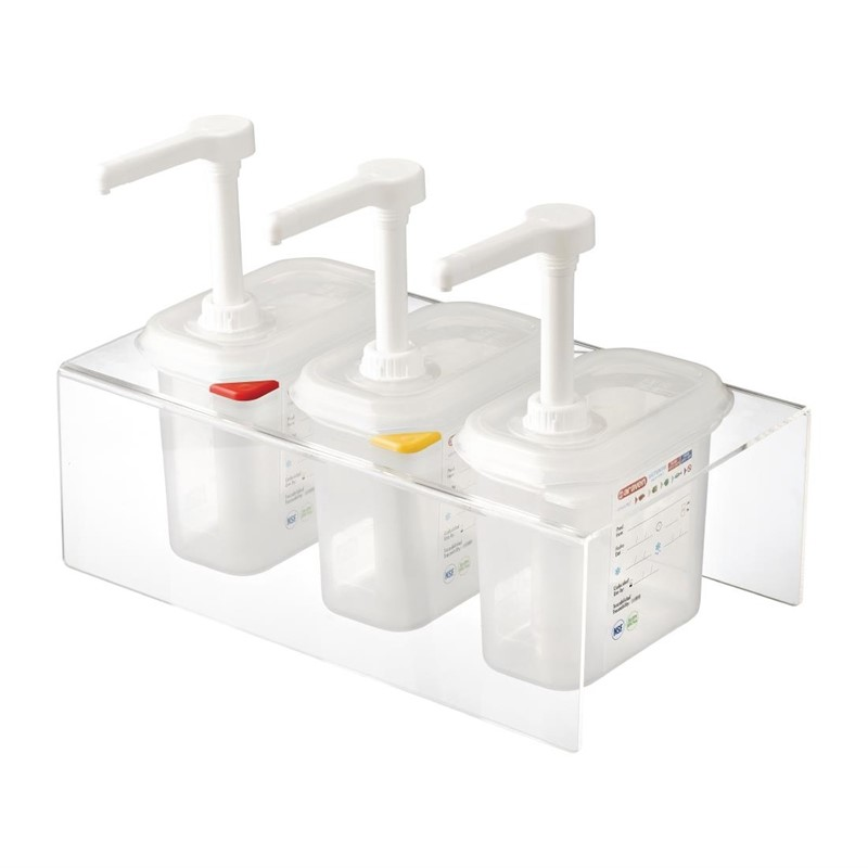 Araven set van 3 sausdispensers GN 1/9 transparant 1,5L