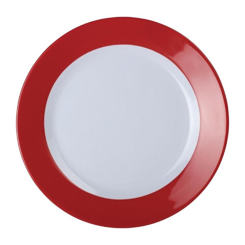 Kristallon Gala melamine borden met rode rand 19,5cm