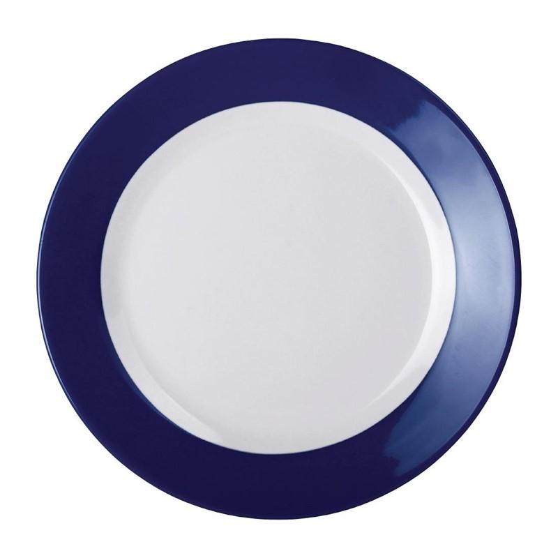 Kristallon Gala melamine borden met blauwe rand 23cm