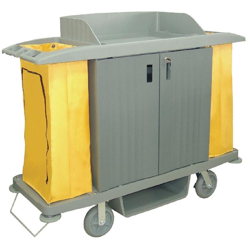 Jantex huishoudwagen met deuren en 2 zakken
