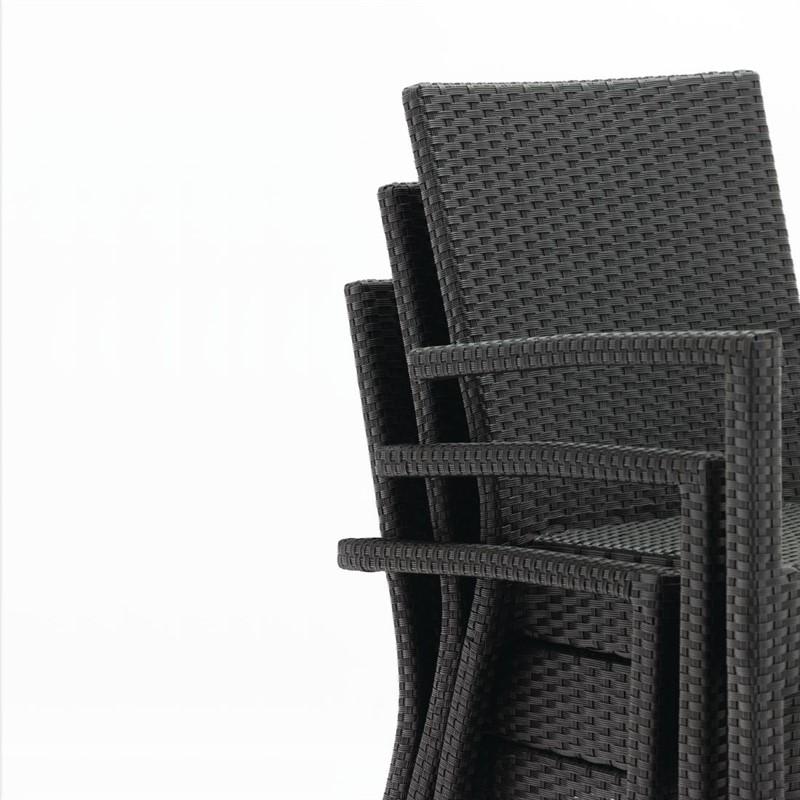 Bolero kunststof rotan stoel met armleuning antraciet