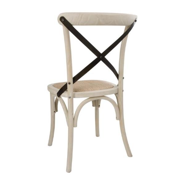 Bolero houten stoel met gekruiste rugleuning ecru