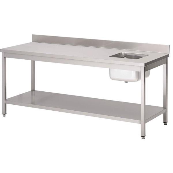 Gastro M RVS cheftafel met spoelbak rechts en achteropstand 85x200x70cm