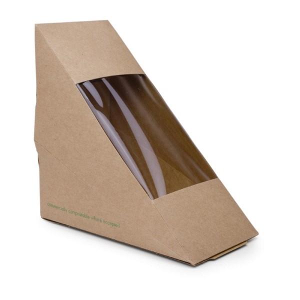 Vegware composteerbare kraft sandwichboxen