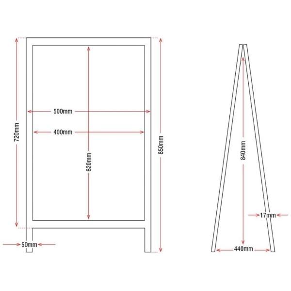 Olympia houten stoepbord 85x50cm