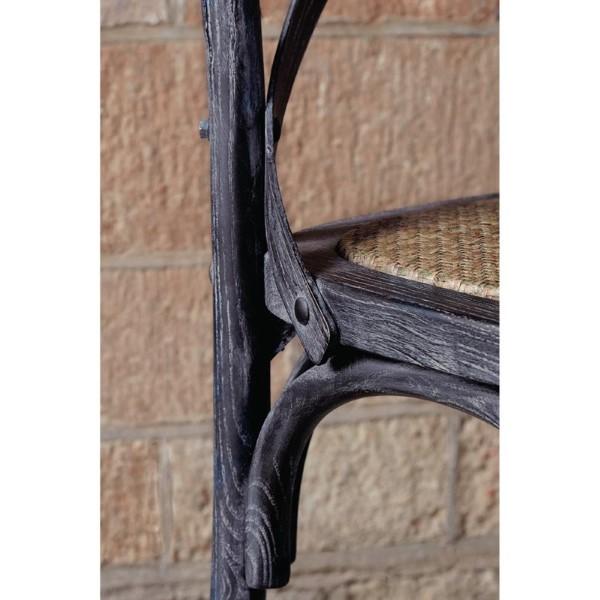 Bolero houten stoel met gekruiste rugleuning black wash