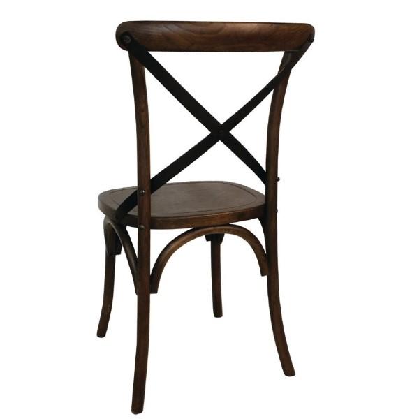Bolero houten stoel met gekruiste rugleuning walnoot