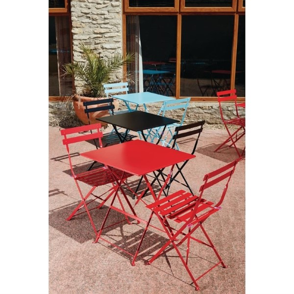 Bolero vierkante opklapbare stalen tafel turquoise 60cm