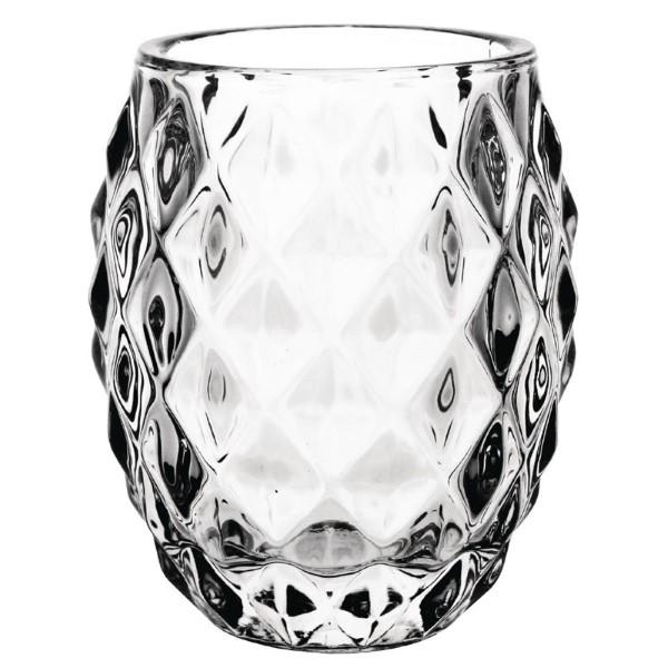 Olympia glazen theelichthouder transparant diamant 7,5cm