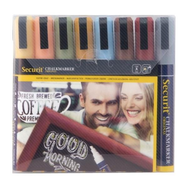 Securit vloeibare krijtstiften 6mm 8 stuks aardetinten