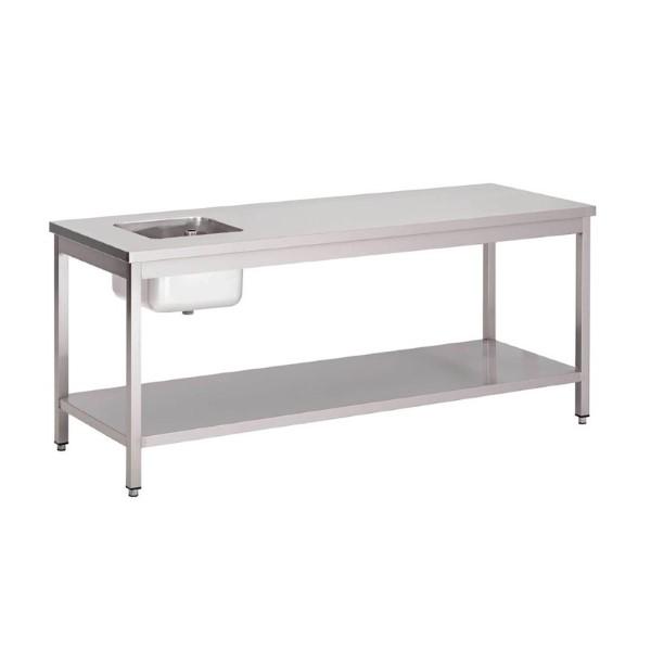 Gastro M RVS cheftafel met onderblad 85x160x70cm