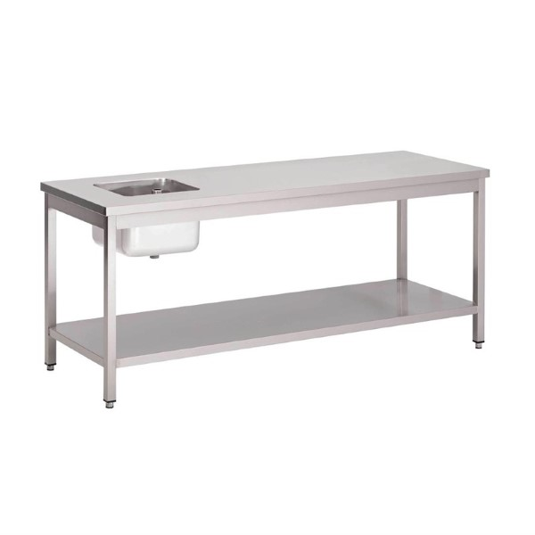 Gastro M RVS cheftafel met onderblad 85x180x70cm