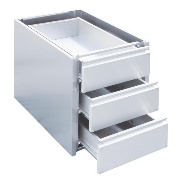 Gastro M RVS ladeblok met 3 laden voor onderbouw 45x58x55cm