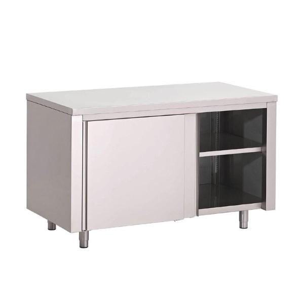 RVS werktafel met schuifdeuren 85x180x70cm