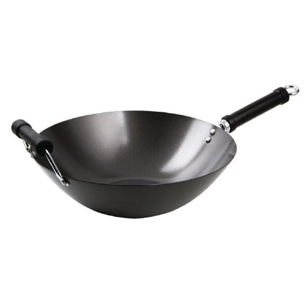 anti-kleef wok met platte bodem 35,5cm