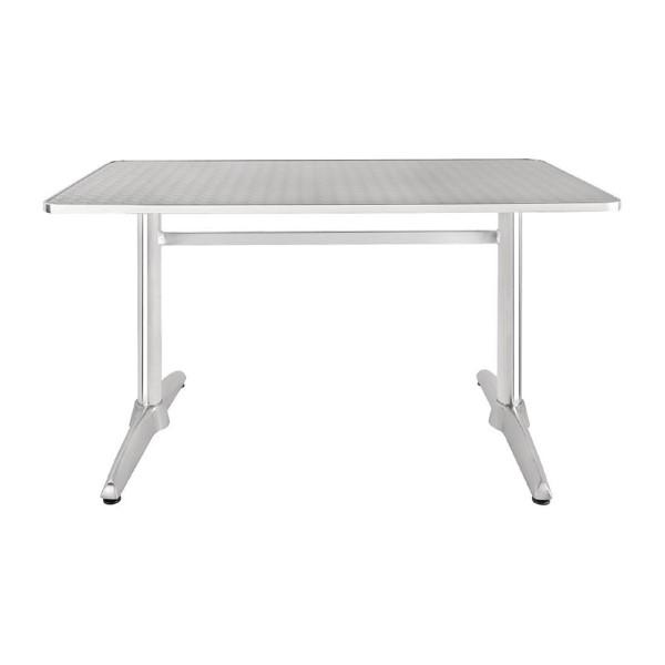Bolero rechthoekige RVS tafel met dubbele tafelpoot 120cm